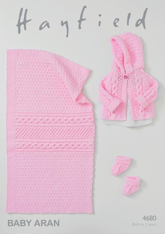 4680 Aran Jacket/Bootees/Blanket