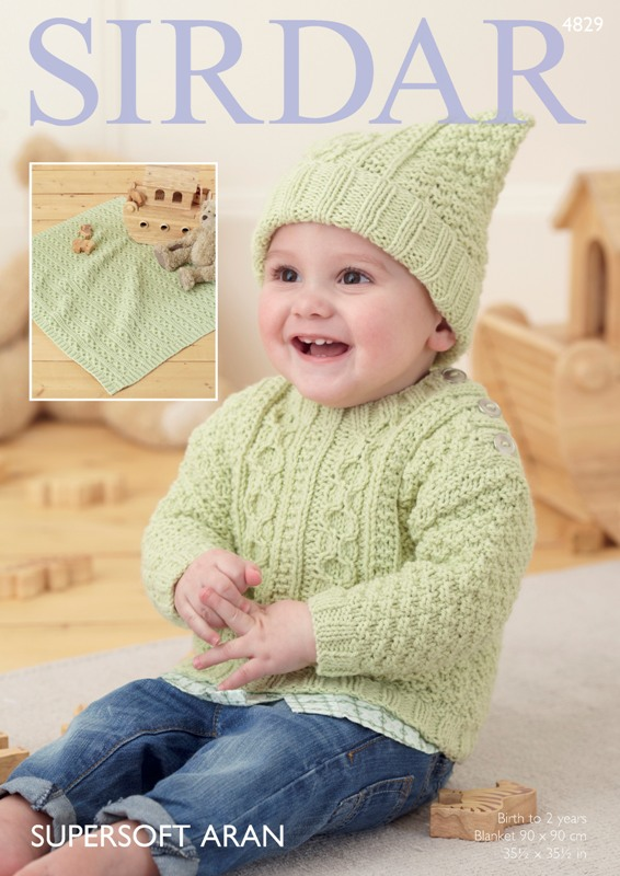 4829 Aran Sweater/Hat/Blanket