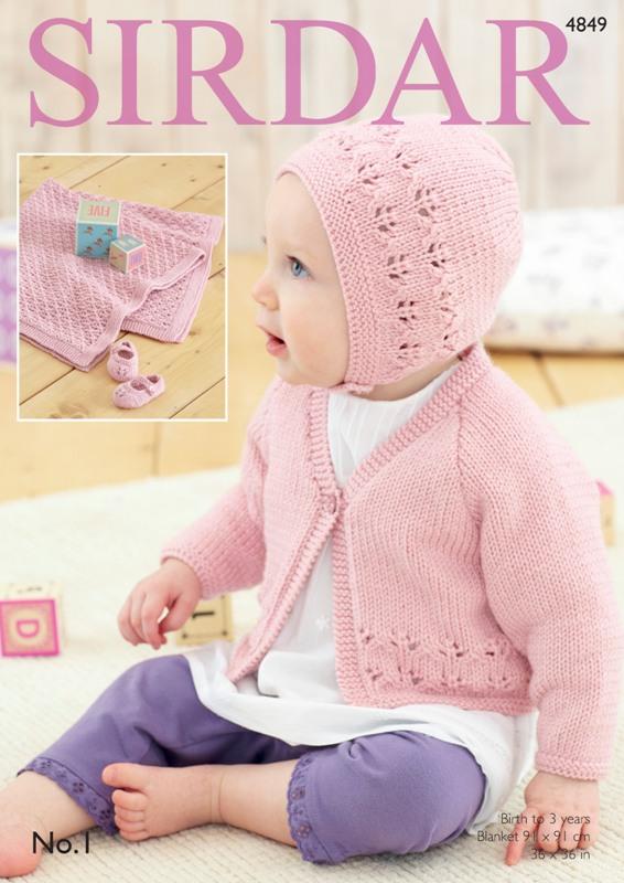 4849 DK Cardigan/Bonnet Set