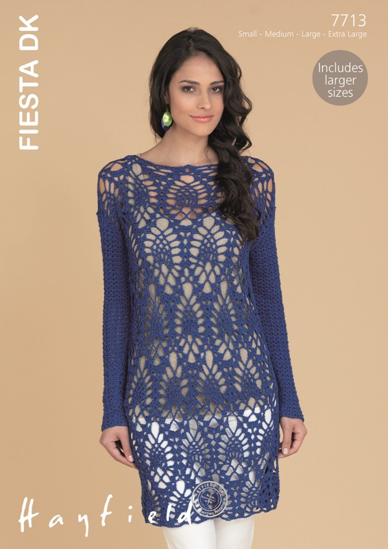 7713 DK Crochet Shift Dress/Top