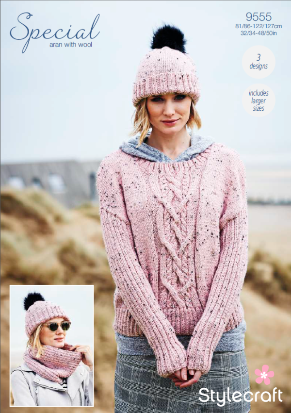9555 Stylecraft Aran Sweater/Snood/Hat