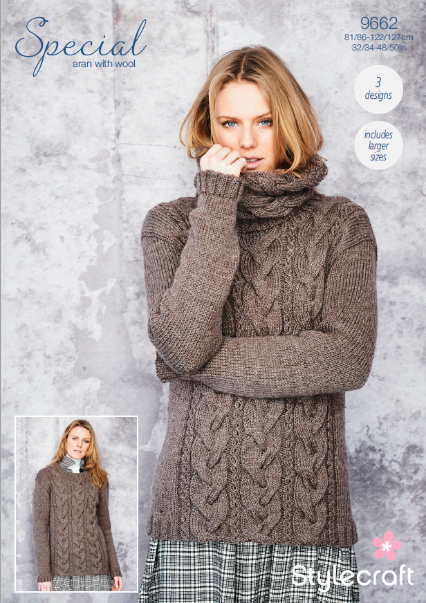 9662 Stylecraft Aran Sweater/Snoods
