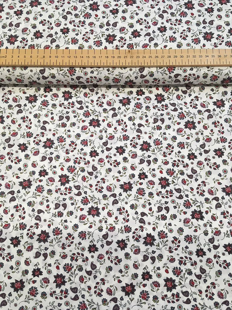 Cotton Poplin-Red Green Floral on White