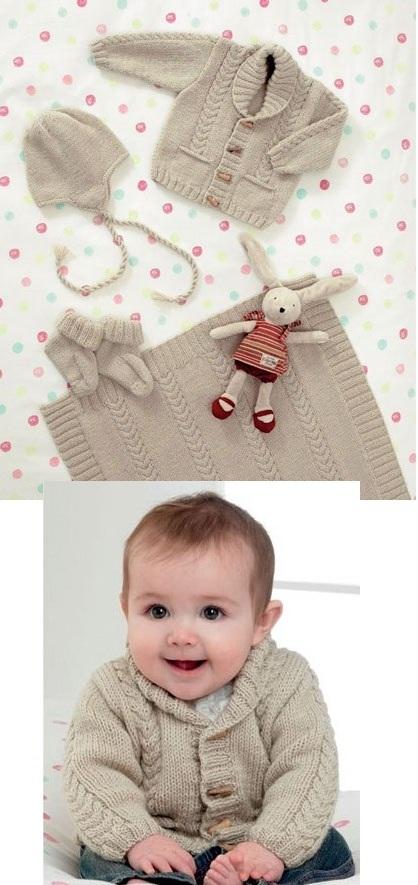 JB084 DK Cardie/Baby Set