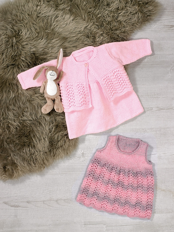 JB613 DK Pinafore Dress, Cardigan